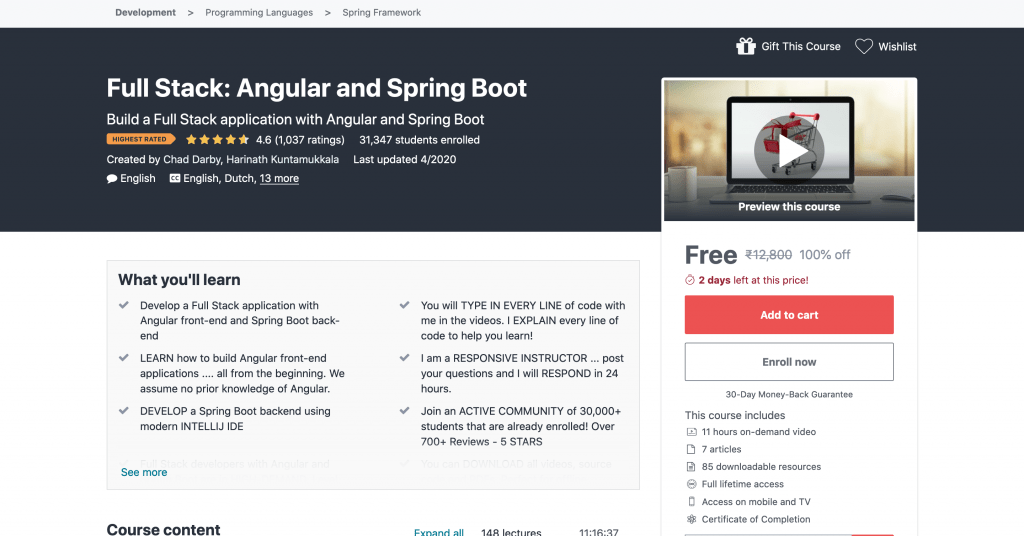 Full Stack: Angular and Spring Boot Free Udemy Course