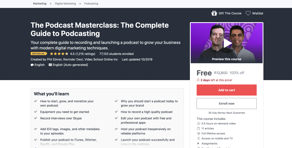 The Podcast Masterclass: The Complete Guide to Podcasting Free udemy Course