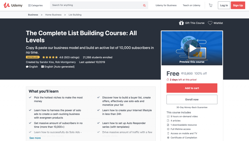 The Complete List Building Course: All Levels Free Udemy Course
