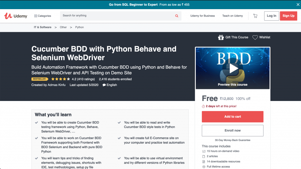 Cucumber BDD with Python Behave and Selenium WebDriver